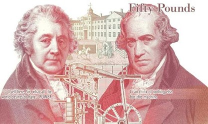 BOULTON AND WATT TO GRACE NEW £50 BANKNOTE