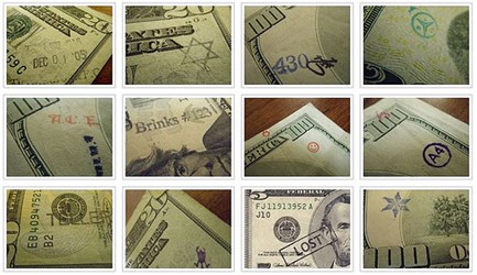 STAMPS ON PAPER MONEY
