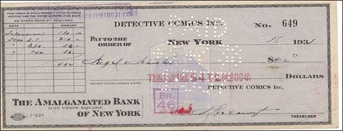 1938 SUPERMAN CHECK OFFERED FOR SALE