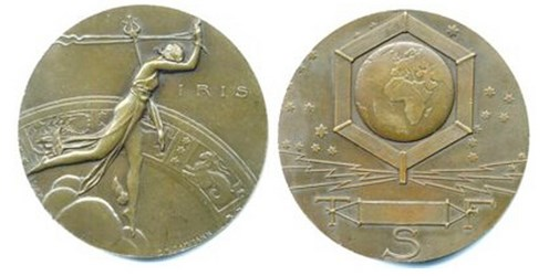 THE IRIS WIRELESS TELEGRAPH ART DECO MEDAL