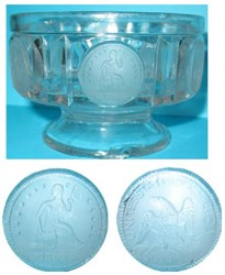 A LIBERTY SEATED QUARTER COIN GLASS SAUCE DISH