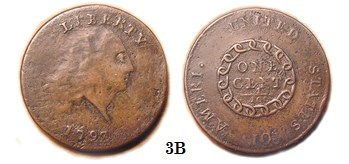 ROBERT HEWITT'S CURIOUS 1793 AMERI. CHAIN CENT