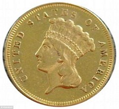ARTICLE CLAIMS 1870-S THREE DOLLAR GOLD PIECE FOUND IN A BOOK