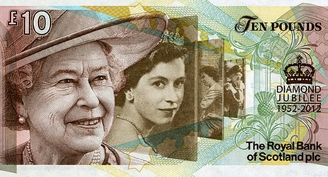 SCOTLAND ISSUES QUEEN'S DIAMOND JUBILEE £10 NOTE