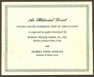 THE GILBERT PAPER CO $1 FEDERAL RESERVE NOTES, SERIES 1963