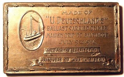 A RELIC MEDAL OF THE GERMAN SUBMARINE DEUTSCHLAND