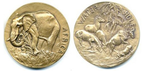 ANNA HYATT HUNTINGTON'S 1943 AFRICAN ANIMALS MEDAL