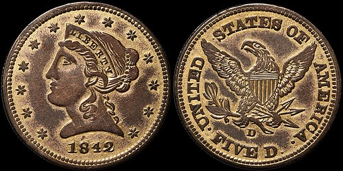 A CONTEMPORARY COUNTERFEIT 1842-D HALF EAGLE
