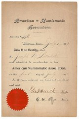 EARLIEST KNOWN MEMBERSHIP CERTIFICATE DONATED TO ANA LIBRARY