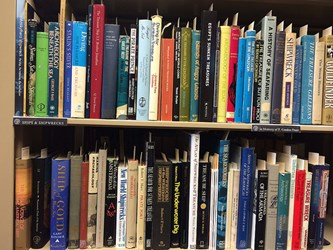 THE FROST SHIPS AND SHIPWRECKS SHELVES AT THE ANS LIBRARY