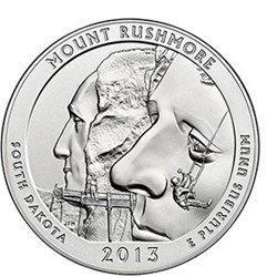 THE MOUNT RUSHMORE FIVE-OUNCE SILVER COIN