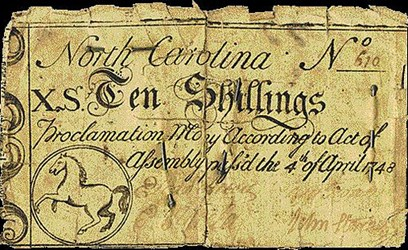 COLONIAL CURRENCY ON PINS AND NEEDLES