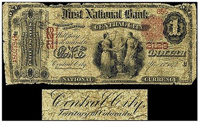 NATIONAL BANK NOTE OF CENTRAL CITY, COLORADO TERRITORY