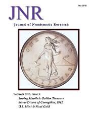 JOURNAL OF NUMISMATIC RESEARCH, SUMMER 2013 PUBLISHED