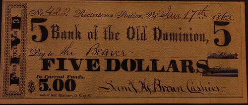 1862 RECTORTOWN, VA SCRIP NOTE ON RECYCLED BANK CHECK