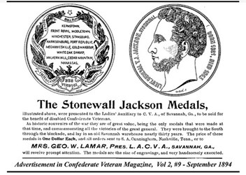 MORE ON THE 1864 STONEWALL JACKSON MEDAL