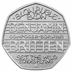 ROYAL MINT ISSUES BENJAMIN BRITTEN 50 PENCE COIN