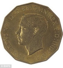 RARE EDWARD VIII THREE PENCE PATTERN BEING AUCTIONED