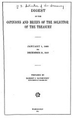 OPINIONS AND BRIEFS OF THE SOLICITOR OF THE TREASURY