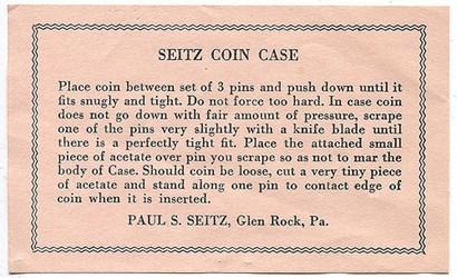 SEITZ COIN CASE INSTRUCTIONS
