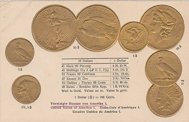 NUMISMATIC POSTCARDS PICTURING U.S. COINS