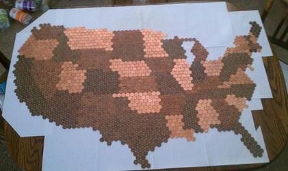 MAN CREATES U.S. MAP MADE OF 24,000 PENNIES