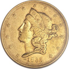 LARGE HEAD OBVERSE WASS, MOLITOR$20 GOLD PIECE OFFERED
