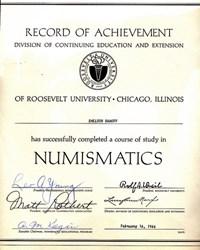 ROOSEVELT UNIVERSITY NUMISMATICS DIPLOMA