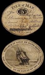 1812 ISLE OF MAN 5 SHILLINGS CARDBOARD NOTE