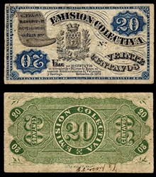 1879 CHILE EMISSION COLECTIVA 20 CENTAVOS NOTE