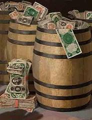 ART EXHIBIT DISPLAYS BARRELS OF MONEY