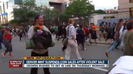 CROWD TRAMPLED AT DENVER MINT GOLD KENNEDY LINE