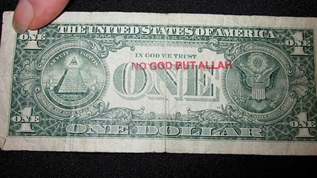 'NO GOD BUT ALLAH' OVERSTAMP REAPPEARS