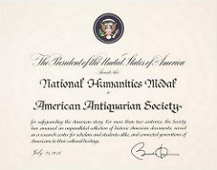 AAS ACCEPTS NATIONAL HUMANITIES MEDAL