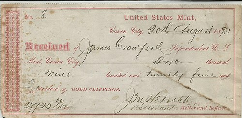 A CARSON CITY MINT GOLD CLIPPINGS RECEIPT