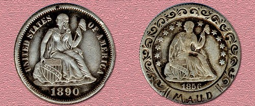 DOUBLE COIN LIBERTY SEATED LOVE TOKEN