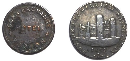 THE BOSTON CORN EXCHANGE HOTEL TOKEN