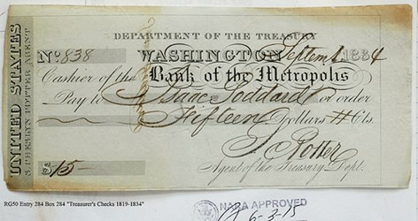 CUT-CANCELLED TREASURY CHECKS 1819-1834