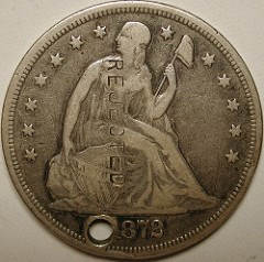 1872 LIBERTY SEATED DOLLAR WITH 'REJECTED' COUNTERSTAMP