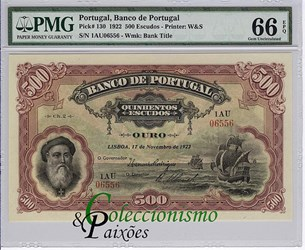 AN ALVES REIS BANK OF PORTUGAL NOTE