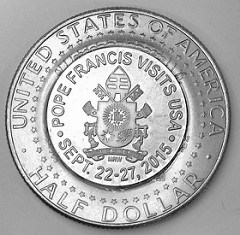 COUNTERSTAMPED HALF COMMEMORATES POPE FRANCIS VISIT