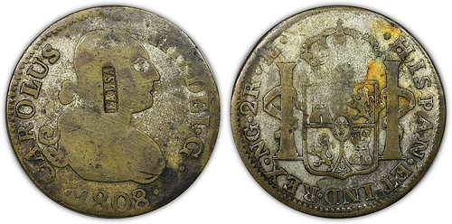 AN 1808 CONTEMPORARY COUNTERFEIT 2 REALES