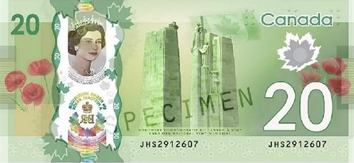 THE VIMY MEMORIAL ON THE NEW CANADIAN $20 BILL
