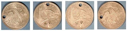 A MACABRE PAIR OF COUNTERSTAMPED COINS