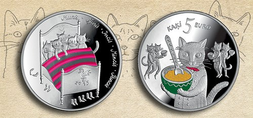 MORE ON THE LATVIA FIVE CATS FIVE EURO COIN