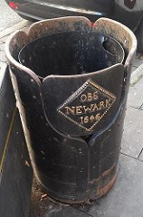NEWARK SIEGE COIN DECORATES RUBBISH BIN