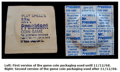 SHELL OIL'S PRESIDENT'S GAMEPIECE PACKAGING