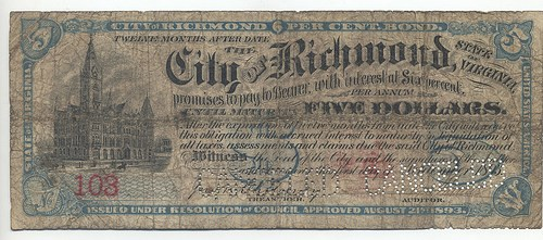 $5 RICHMOND, VA PANIC OF1893 NOTE
