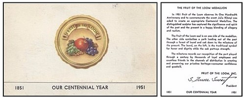 FRUIT OF THE LOOM CENTENNIAL MEDAL