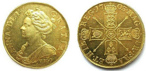 QUEEN ANNE 'VIGO' GOLD FIVE GUINEA FOUND